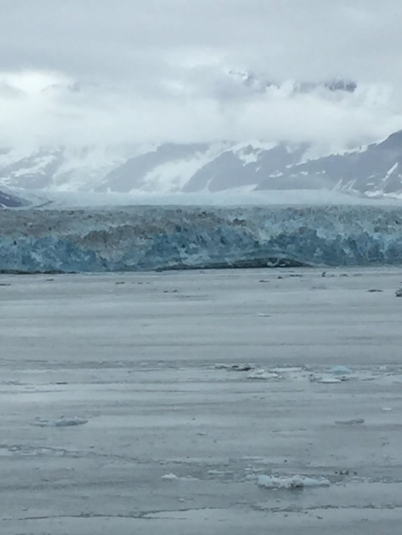 The blue green glacier as we got closer. Ships are limited in how close they can get due to the icebergs.