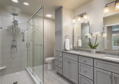 Columbia Primary Bath with enlarged frameless glass shower to expand the look and feel of this bathroom oasis.