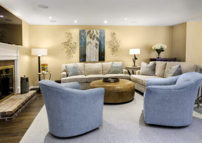 Howard County/Columbia Family Room designed with flexible options for seating, TV viewing, and lighting.